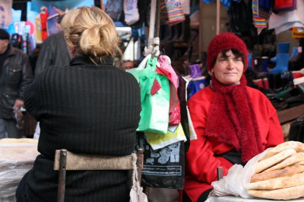 Two woman waiting for customers at a street market in Tbilisi | Georgian People | Georgia