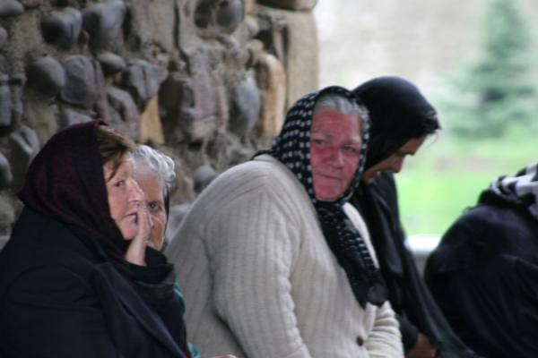 Georgian women waiting at the cathedral of Mtskheta | Georgian People | Georgia