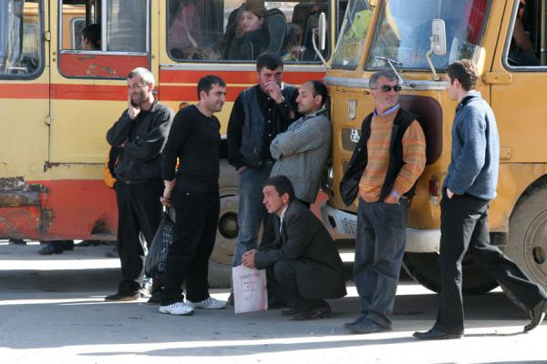 Picture of Georgian People (Georgia): Georgian men waiting for their bus to leave