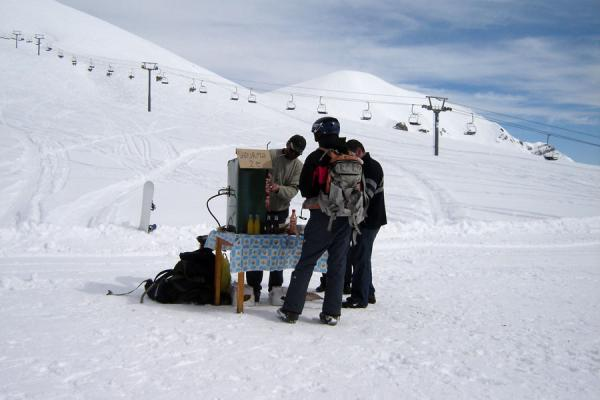Picture of People buying a snack at one of the many stalls in the snowGudauri - Georgia
