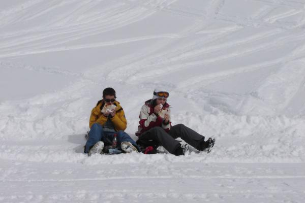Picture of Gudauri Skiing (Georgia): Georgian skiers taking a break in the snow