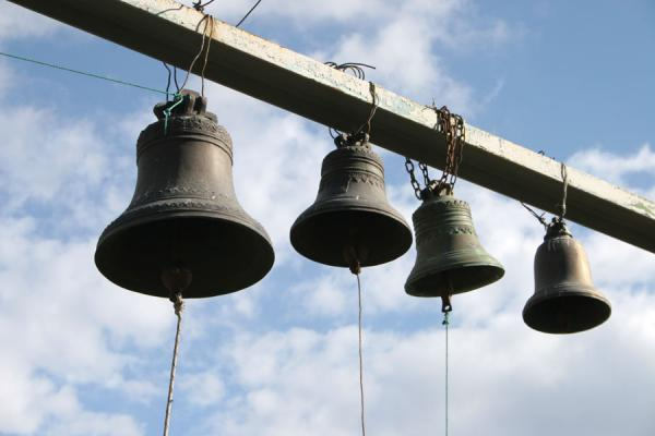 Bells of Jvari Church hanging outside | Jvari Church | Georgia
