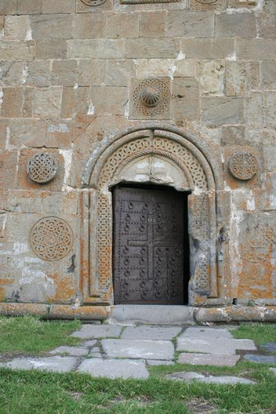 Picture of Mtatsminda Zamemba (Georgia): Kazbegi: main entrance to Mtatsminda Zamemba church