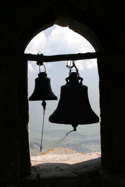 Picture of Mtatsminda Zamemba (Georgia): Mtatsminda Zamemba church: bells hanging over Georgian landscape