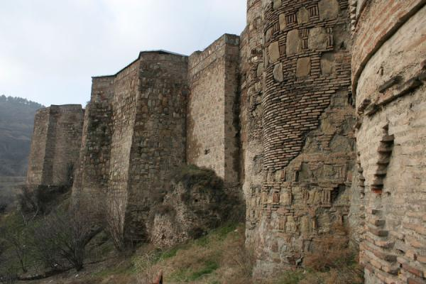 Thick defensive walls of Narikala Fortress | Narikala Fortress | Georgia