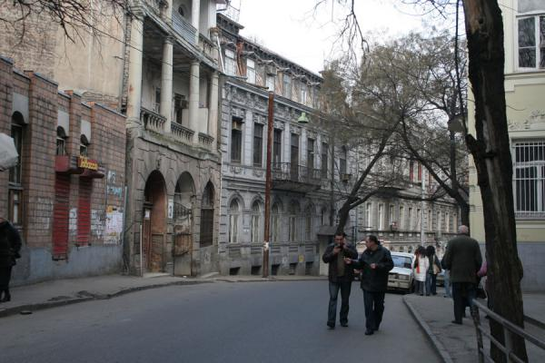 Picture of Georgians walking a typical street in Tbilisi