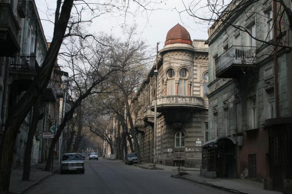Foto di Street in Tbilisi with trees and typical architectureTbilisi - Georgia