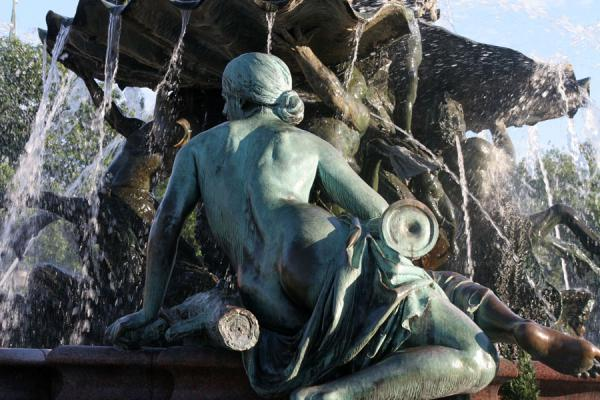 Foto van Detail of one of the goddesses at the Neptune fountainBerlijn - Duitsland