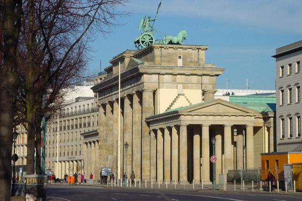 The Brandenburger Tor from a distance - note the old marking of where the Wall once stood in the street | Brandenburger Tor | Germany