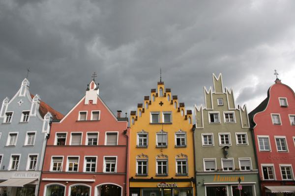 Picture of Coloured houses against a dark sky in Landshut