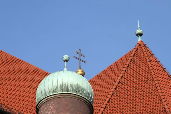 Detail of dome and roof of St Peter's Church | Munich churches | Germany