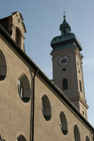 Picture of Bell tower and part of Heiliggeistkirche or Church of the Holy Ghost