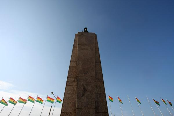 Picture of Independence Square (Ghana): Independence Monument and Ghanaian flags