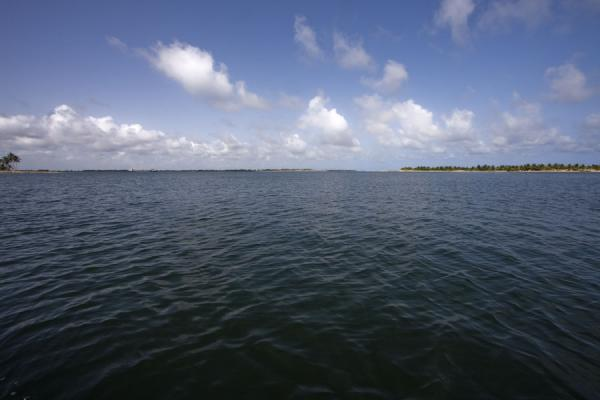 Picture of Lake-like wide Volta river before it reaches the Gulf of Guinea - Ghana - Africa