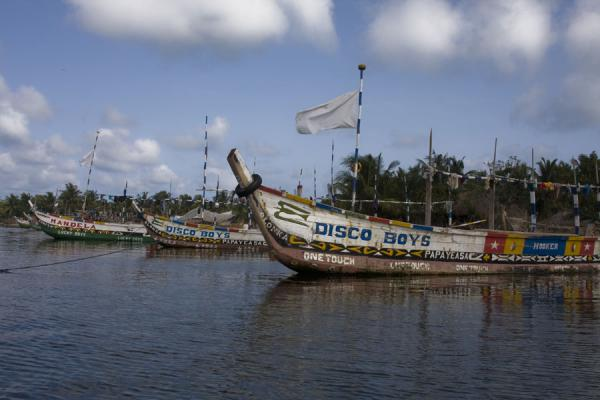 Foto di Curious names on decorated fisher boats near Ada FoahAda Foah - Ghana