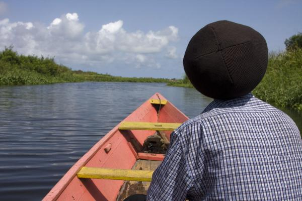 Picture of Ada Foah (Ghana): Boating down one of the waterways in the Volta delta with my Rasta man