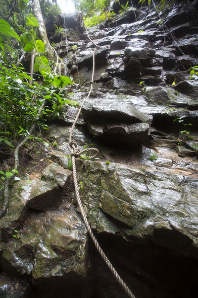 The ropes on the slippery cliff at Kulugu waterfall | Avatime hills | Ghana