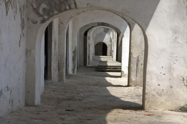 Picture of Arches in a white-washed corridor of Cape Coast castle