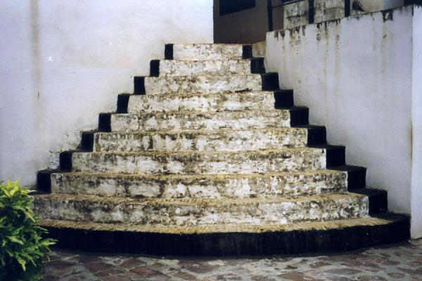 Picture of Elmina slave castle (Ghana): Black and white stairs in Elmina slave castle