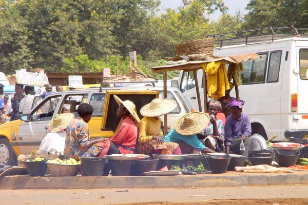 Even in the middle of a bus station, people find a way to sell their stuff | Ghana Market | Ghana