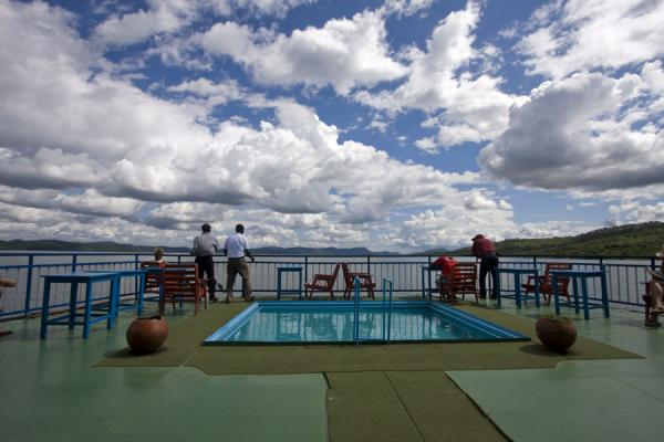The front deck with swimming pool and dancing Africans | Lake Volta Cruise | Ghana
