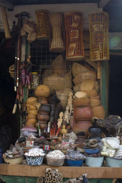 Picture of Timber market (Ghana): A variety of items for sale in a market stall