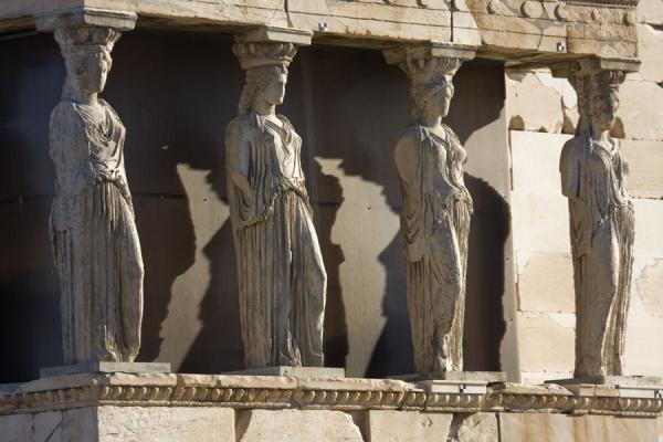 Statues of the Caryatids on the southern side of the Erechteum | Acropolis | Greece