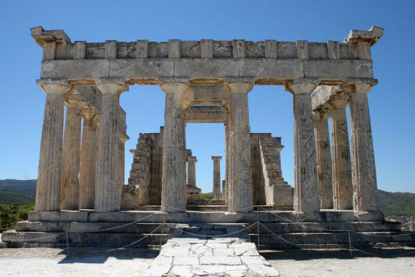 Looking at the entrance of the temple of Aphaia | Aphaia Temple | Greece