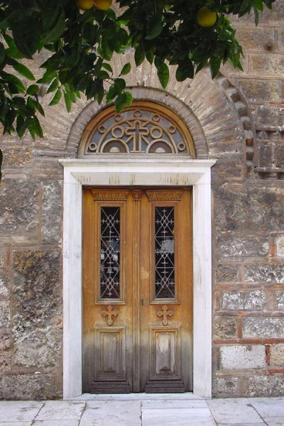 Picture of Athens Monasteries (Greece): Door of monastery - Athens