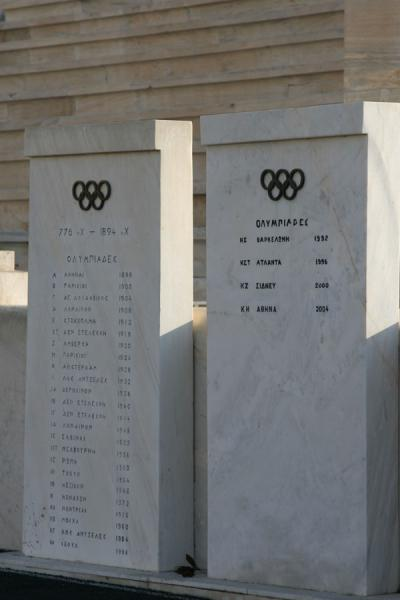 Picture of Panathinaiko Stadium (Greece): Marble slabs naming all cities of Modern Olympic Summer Games