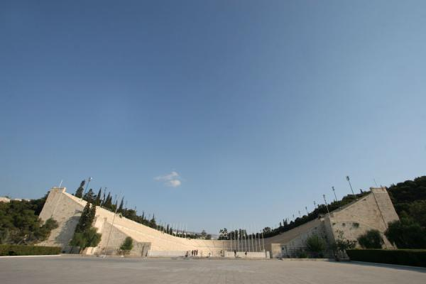 Picture of Panathinaiko Stadium built between two hills