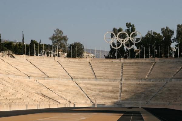 Picture of Panathinaiko Stadium (Greece): Olympic rings over the classical stadium of Kalimarmaron