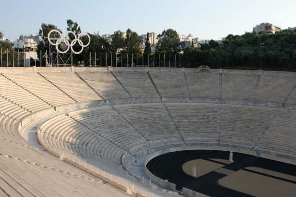 Picture of Kalimarmaron Stadium with track and Olympic rings seen from above