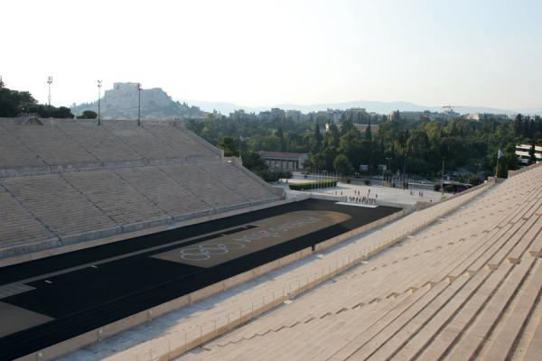 Picture of Panathinaiko Stadium (Greece): View on Acropolis from the top of Panathinaiko Stadium