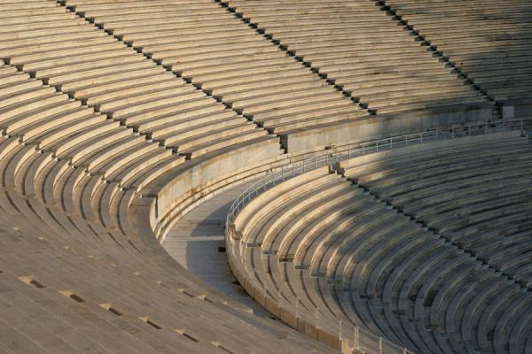 Foto di Close-up of the marble stands at Kalimarmaron stadiumAtene - Grecia