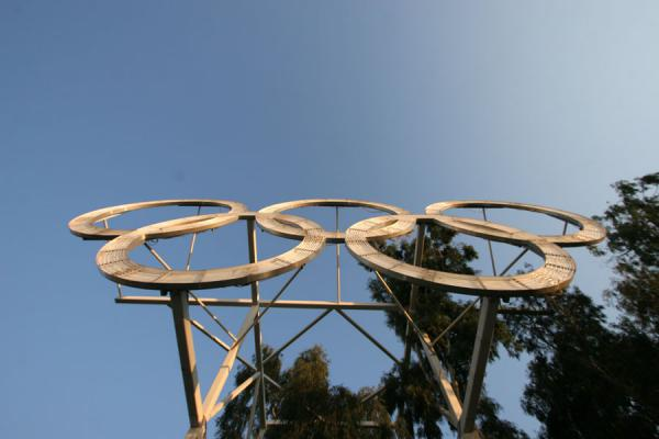 Foto van Close-up of the Olympic rings at Panathinaiko StadiumAthene - Griekenland