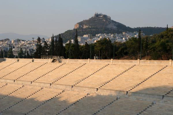 Picture of Panathinaiko Stadium (Greece): View on Likavettos from the top of Panathinaiko Stadium