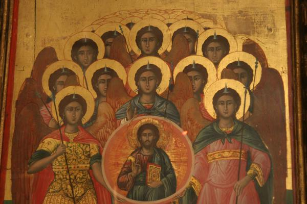 Detail of religious painting in the Zoodochou Pigi monastery | Poros | Greece