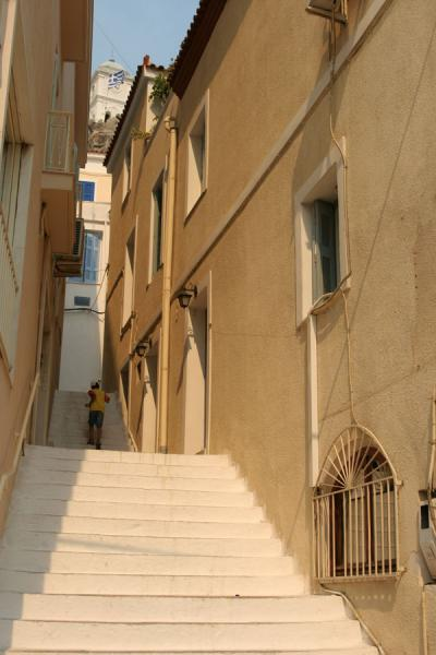 Street with stairs in Poros town | Poros | Greece
