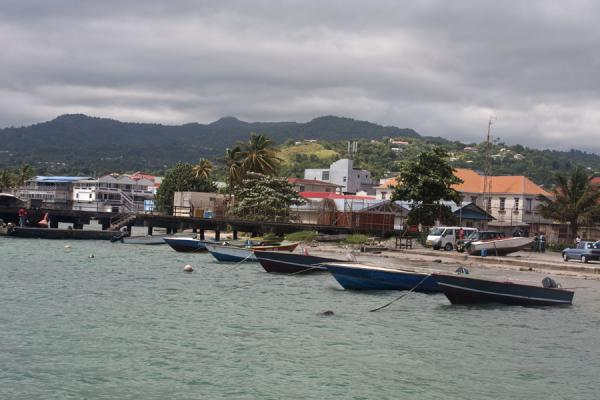 Picture of Grenville (Grenada): View of Grenville with boats and mountains in the background