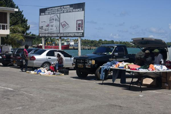 Picture of Grenville (Grenada): Market on parking lot also serving as bus station