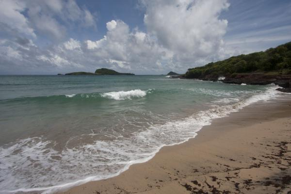 Waves at Levera Beach with Green Island in the background | Spiaggia di Levera | Grenada