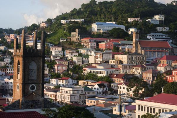 View over the western side of St. George's just before sunset with the landmark bell towers | St. George's | Grenada