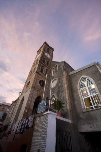 Picture of St. George's (Grenada): Looking up the tall bell tower of the Catholic church of St. George's