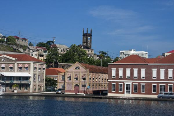 Foto van Some of the buildings at the Carenage with the bell tower of the Presbyterian church dominating the skylineSt. George's - Grenada