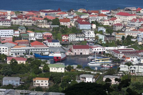 Picture of St. George's (Grenada): Looking over a part of the city with mostly red roofs