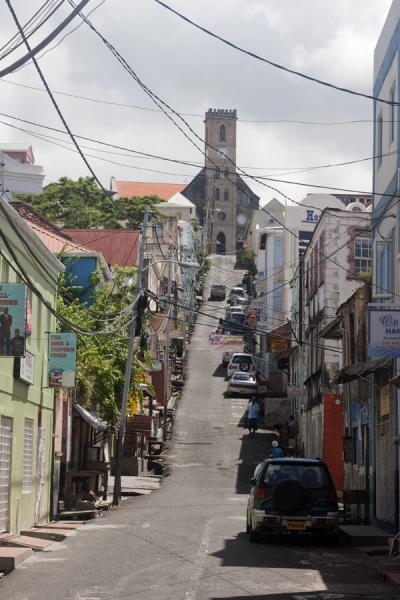 Picture of St. George's (Grenada): One of the main streets running uphill from the west side of the city