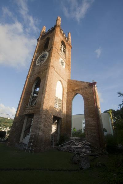 Picture of St. George's (Grenada): Bell tower of the Presbyterian church that still lacks a roof
