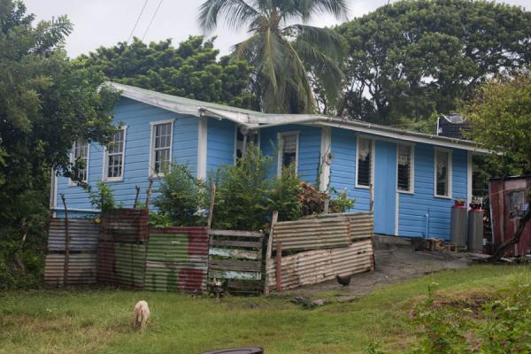 Typical blue building in the village of Windward | Windward | Grenada