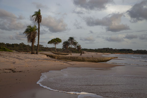 Foto di Wooden pirogue on the beach of VarelaVarela - Guinea-Bissau